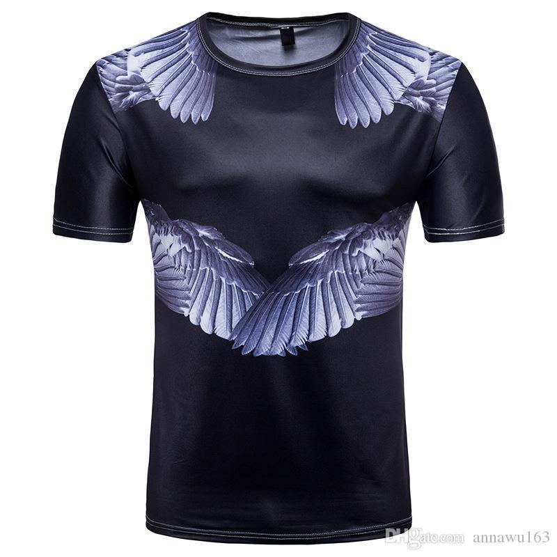 Hombres de la moda 3D camisetas y Paz de la paloma impresos Alas camiseta impresa manga corta al por mayor