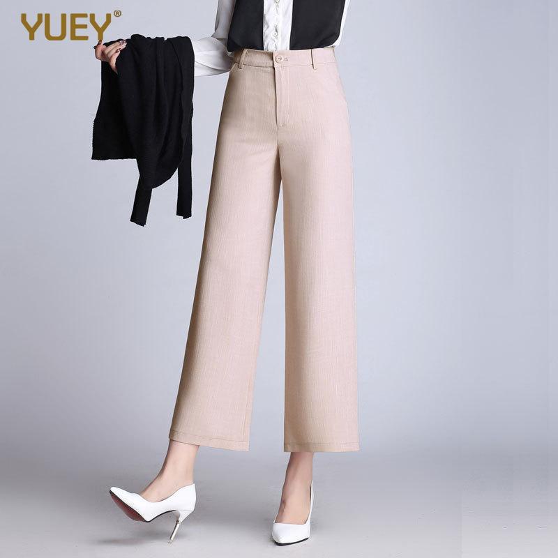 Kadın Yaz Yeni Stil Buzağı Uzunluk Pantolon Kadın Yüksek Bel Keten Düz İnce Kırpılmış Pantolon Katı Şeker Renk Plus Size M 6XL CJ191216