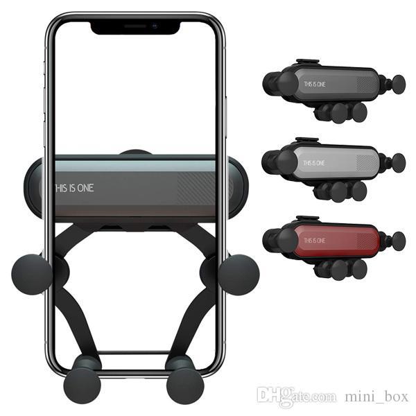 Support de téléphone portable à fixation automatique pour voiture, par gravité, télescopique et compatible avec l'iPhone XS XR 8 Plus, Samsung S9 S10