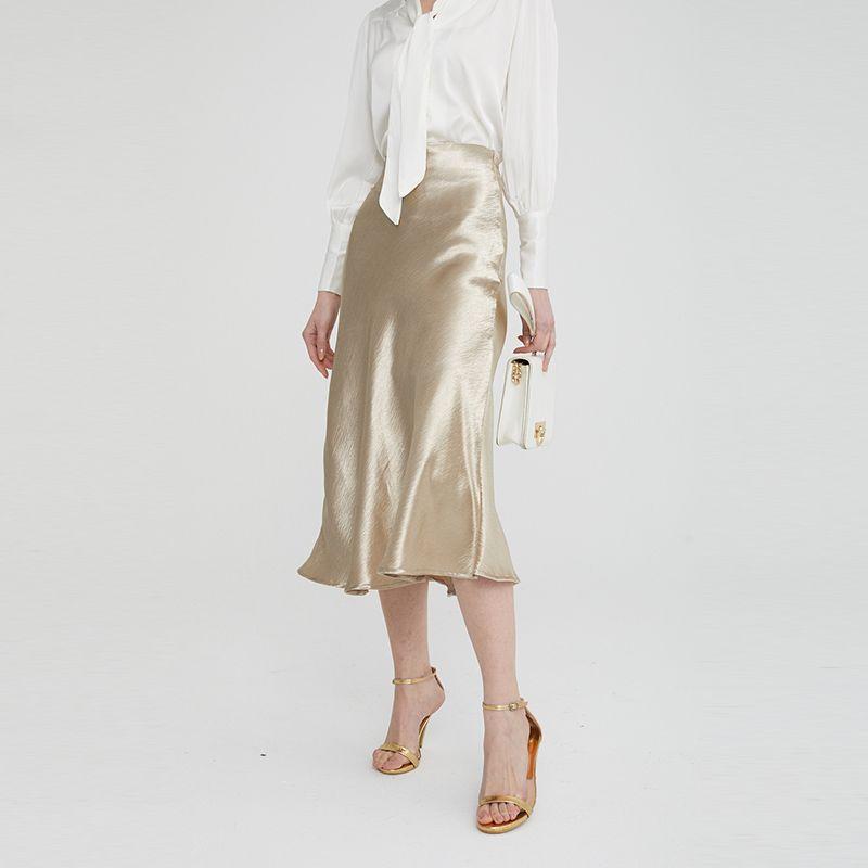 2020 femmes Jupe femme Jupe satin brillant uni brillant PVC effet mouillé Fashion Party Bureau Jupes solides métalliques à taille haute Jupes