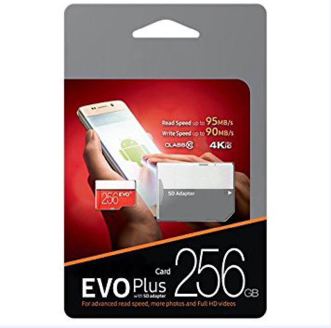 100% Brand New U3 EVO + PLUS 100Mbps 32GB 64GB 128GB 256GB TF Memória TF Cartão Para Smartphone Camcoders DHL Shipping 1 Ano