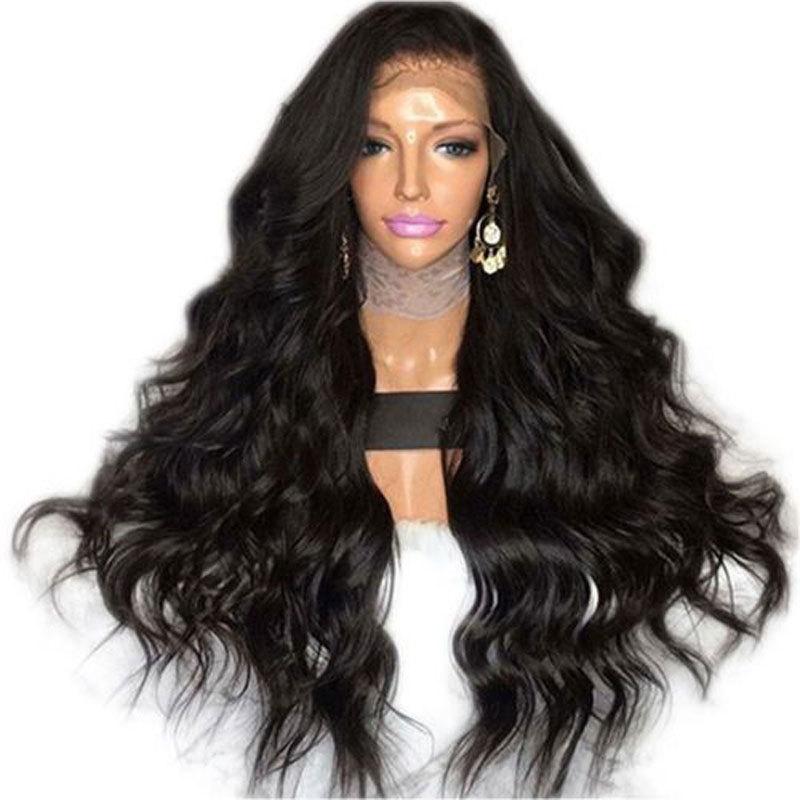 Bombshell 블랙 바디 웨이브 합성 레이스 프런트 가발 Glueless 내열성 섬유 머리카락 Natural Hairline Free For Women Wigs Y190717