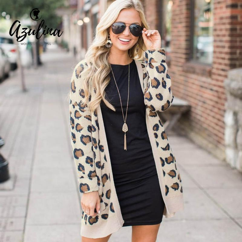 Womens Leopard Cardigan Print Collarless Long Sleeves Open Front Knitted Sweater Female Cardigans Winter Jumpers Ladies Sweater