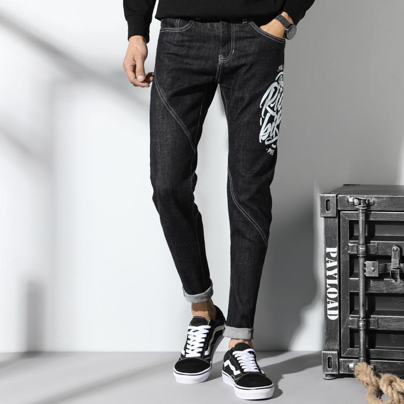 Nueva impresora negro hombre pantalones vaqueros bordados flacos vaqueros delgados hombres estiramiento elástico pantalones delgados del hip hop streetwear primavera otoño invierno