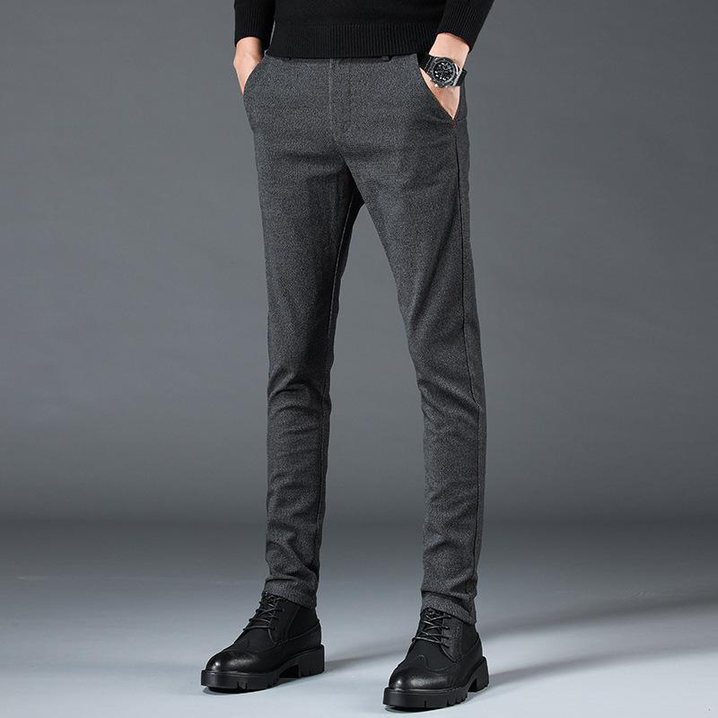 Crayon Pantalons simple Pantalons pour homme Marque Hombre Automne Pantalons longs Homme Taille Plus d'affaires Slim Fashion solides droites 38