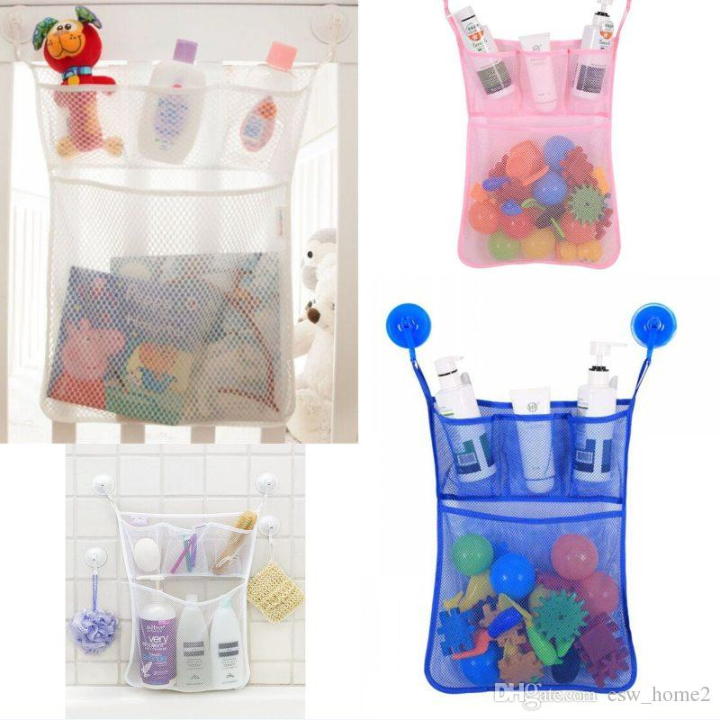Toys Storage Bag Baby Kids Bath Tub Toy Tidy Storage Suction Cup Bag Mesh Bathroom Net Organiser