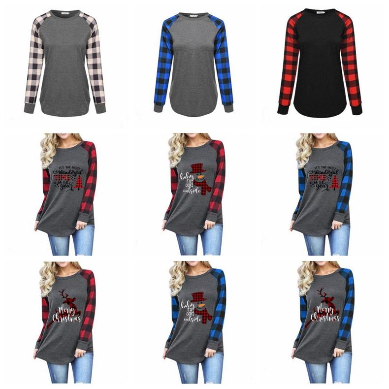 Women Plaid Christmas T-shirt Plus Size Xmas Tops Elk Long Sleeve Shirts Letter Print Patchwork Tees Cotton Casual Blouse Neck Blouses D6823