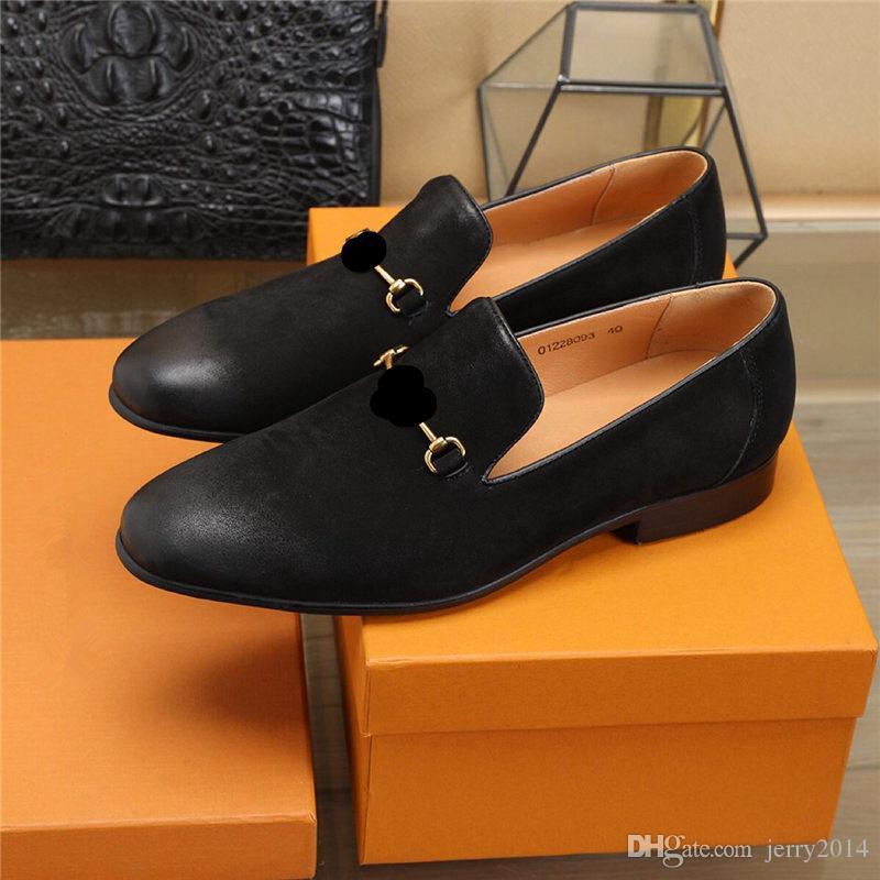 2019 styles Homme chaussure de designer designer italien chaussures habillées pour hommes en cuir véritable noir luxe chaussures de mariage hommes chaussures à talons bas