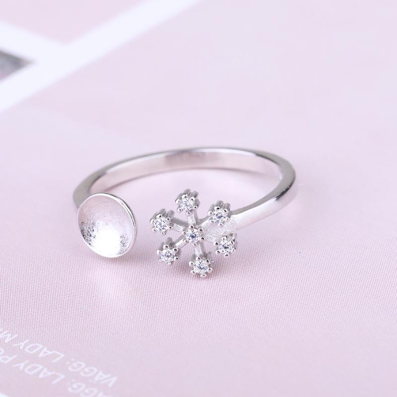 925 anillo de bodas de plata de ley de compromiso para la Mujer Cristal 6-11mm perla perla redonda o semi anillo de montaje del bricolaje Piedra