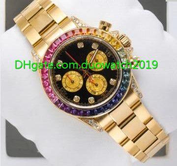 Venta caliente Reloj de Calidad Superior 40mm Hombres 116598 RBOW Rainbow Movimiento Automático Bisel de Oro Diamante Relojes de Pulsera Sin Cronógrafo
