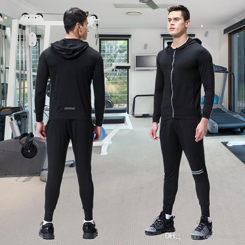Vêtements de sport pour hommes Ensemble de sport Ensemble de jogging Costumes Vêtements Survêtement Zipper Manteau Et Pantalon Gym Traning Fitness Set 2pcs / Sets