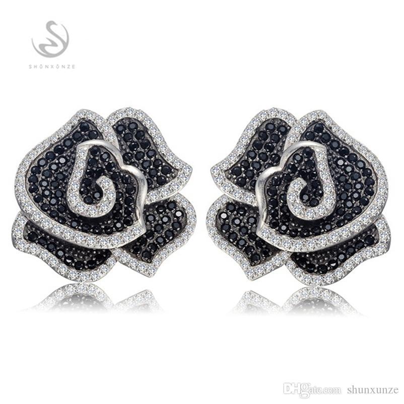 SHUNXUNZE Noble generosas pendientes linda de la vendimia de compromiso para las mujeres 925 plata esterlina Blanca y Negro circonio cúbico S-3790