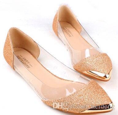2017 새로운 세련된 금속은 지적 / 폐쇄 발가락 투명 반짝 지적 아사 쿠치 발레 플랫 신발 여성의 신발을