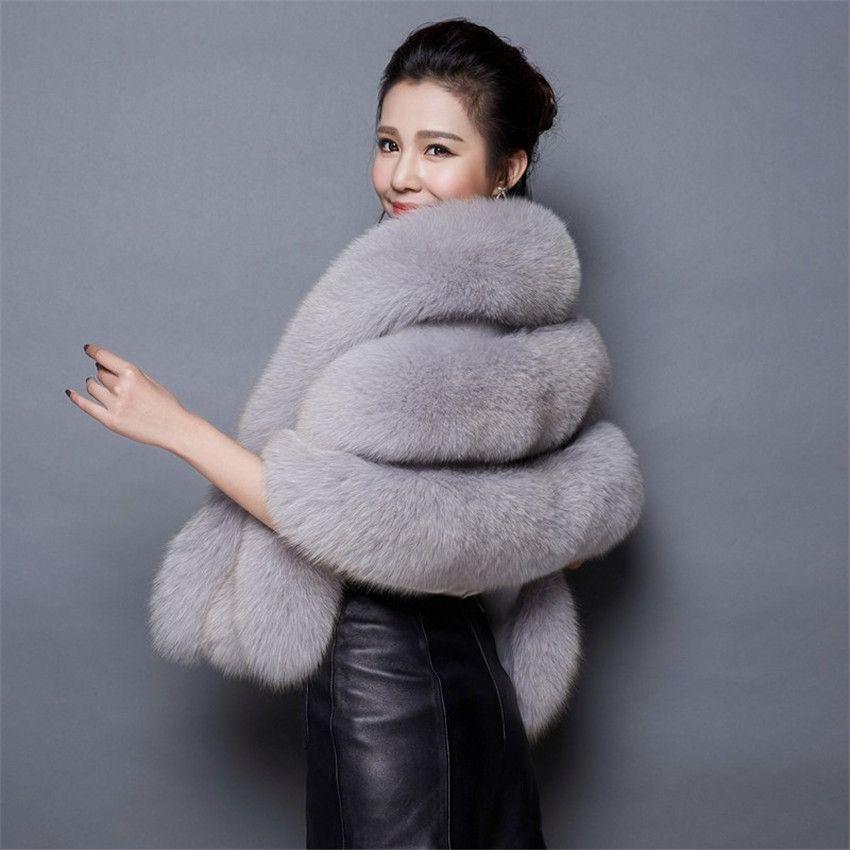 New Women Wedding Shawl Evening Party Dress Wrap Fur Shoulder Capes Bridal Jacket Coat Faux Fur Slim Lady Fake Cloak