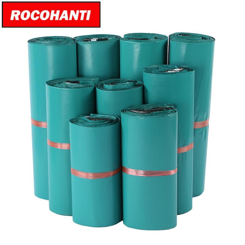 100PCS de couleur verte / Poly Poly Mailers Courrier postal Sac / imprimés personnalisés Sacs
