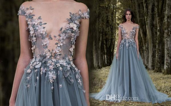 Paolo Sebastian Prom Dresses 3D-Floral Appliques Short Sleeve Lace Dress Evening Wear Sheer Neck Flower Vintage Long Formal Party Gowns