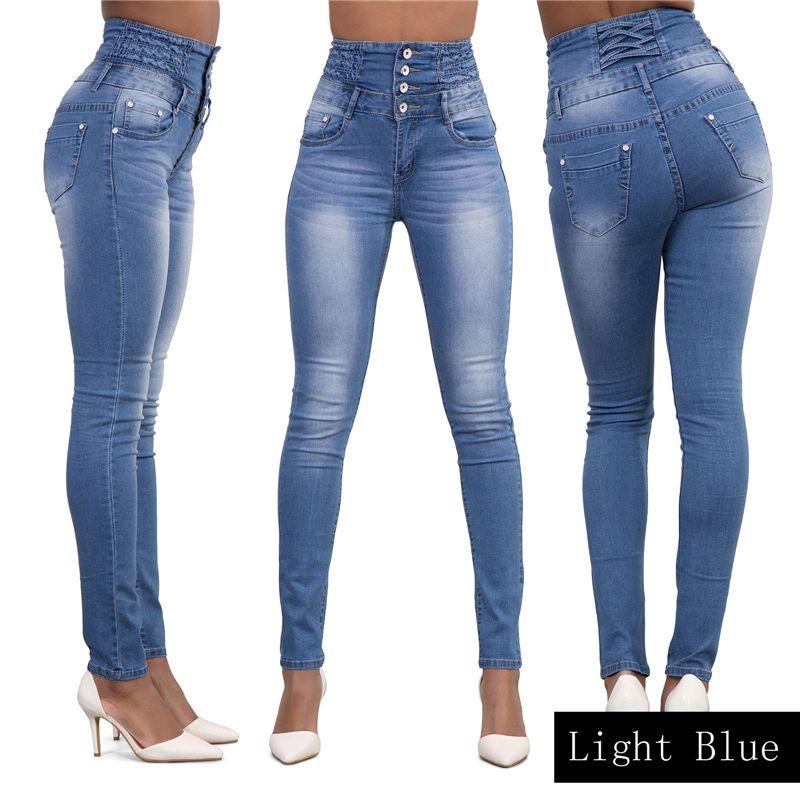 Sıcak Kadınlar Bayanlar Jeans Kadın Denim Skinny jeggings Kot Pantolon Yüksek Bel Stretch İnce Kalem Pantolon