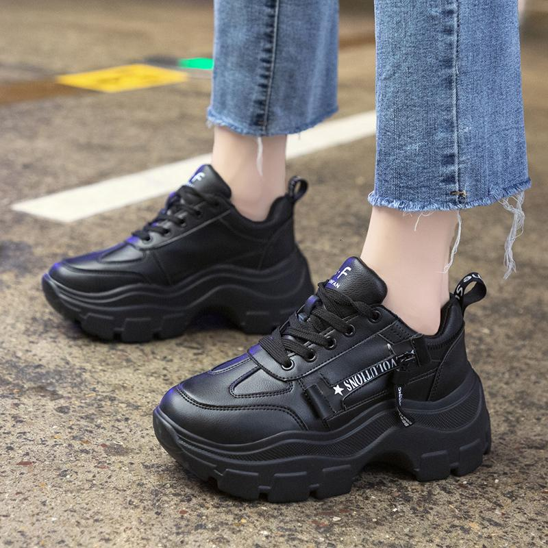 Rimocy Black Leather Shoes Woman Fashion Lace Up Chunky Platform Sneakers Women Thick High Heels Waterproof Vulcanize Shoes Lady SH190930