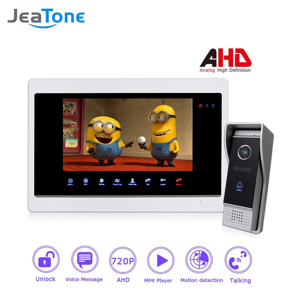 JraTone AHD 4 Wired 720P 7'' Video Door Phone Intercom Villa DoorBell Entry System Door Speaker Motion Detection Touch Button Monitor