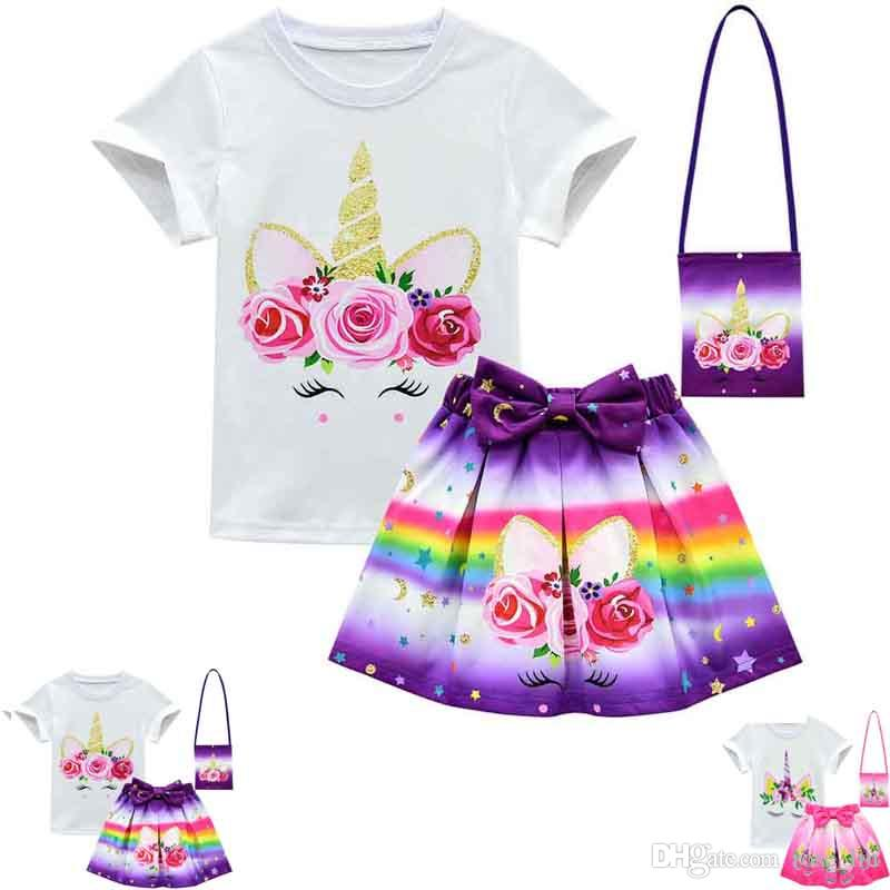 Unicorn Rainbow Dresses For Baby Girl Frock Clothes Summer Kid T Shirt+short Skirt+shoulder bag 3PC Outfit Cartoon Print Clothes C21