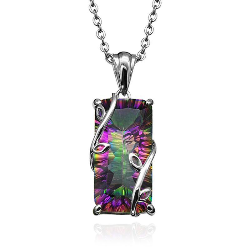 Collier exquis Collier en argent artificielle diamant arc-en-Femmes Collier anniversaire Cut Feuille cadeau chaîne florale avec pendentif