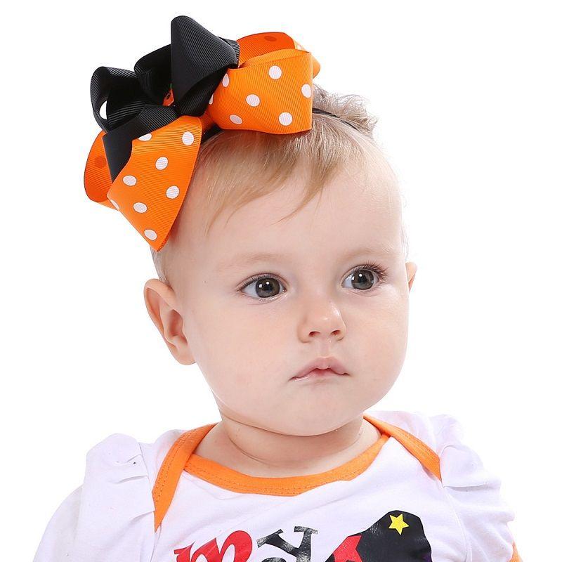 24X-Halloween-Party verkleiden Kürbis Bowknot elastischer Haar-Bänder Stirnband-Kleinkind-Kinder-Kopfbedeckung Schönes Huilin DWH138