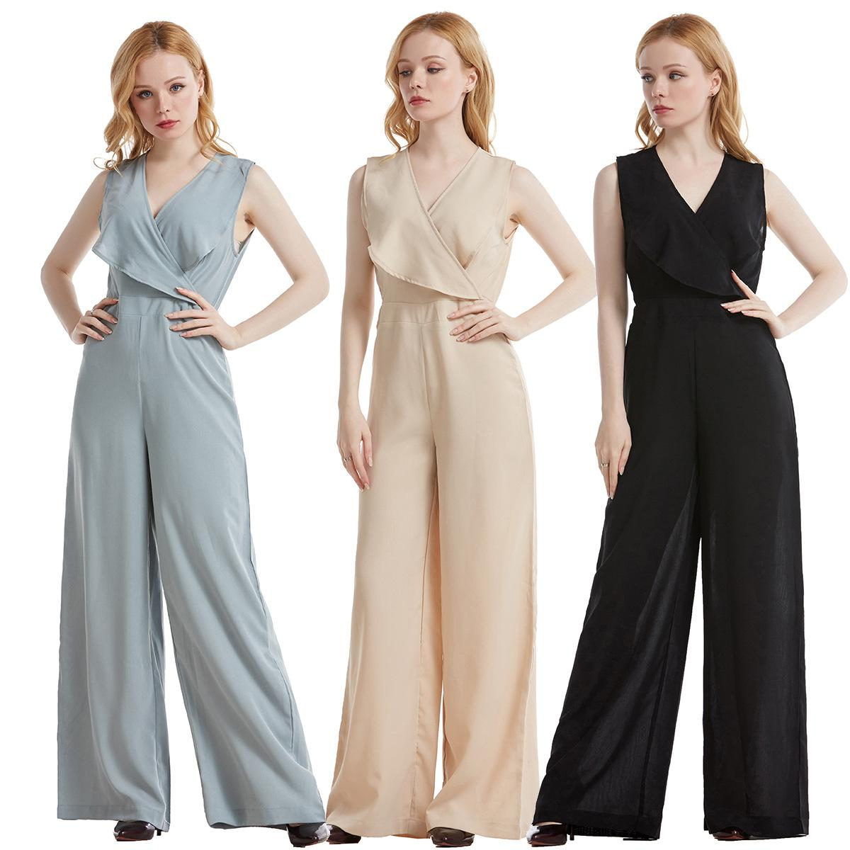 Rompers High Quality Summer New Fashion Women'S Party Vintage Chic Office Casual Sexy Official Ruffle Loose Trousers Vest Jumpsuits
