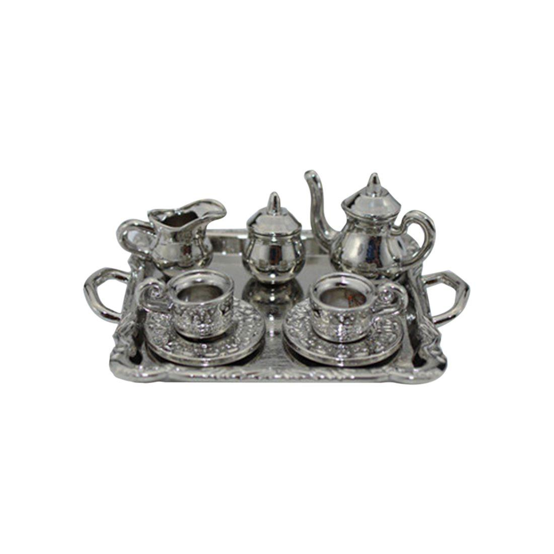 1: 12 Dollhouse móveis em miniatura de jantar Ware Toy 8 Pcs metal Tea Set Bule Copa Placa Comprimento 6,5 centímetros