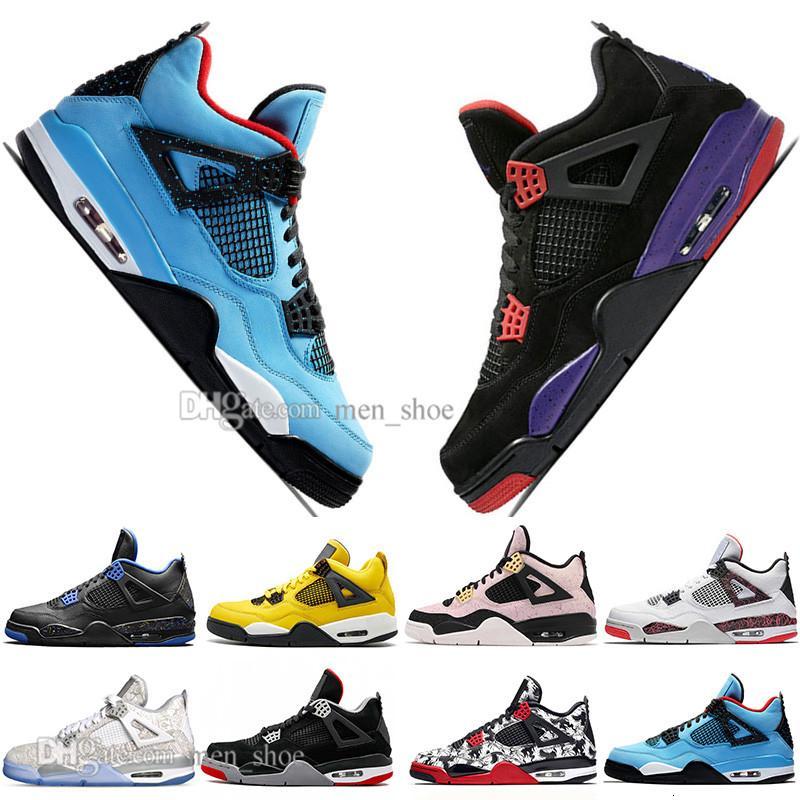 Nuevos 2019 más nuevos Bred 4 4s Lo Las zapatillas Cactus Jack láser Alas de baloncesto del Mens Denim azul pálido Citron deportes de los hombres zapatillas de deporte diseñador 5,5-13