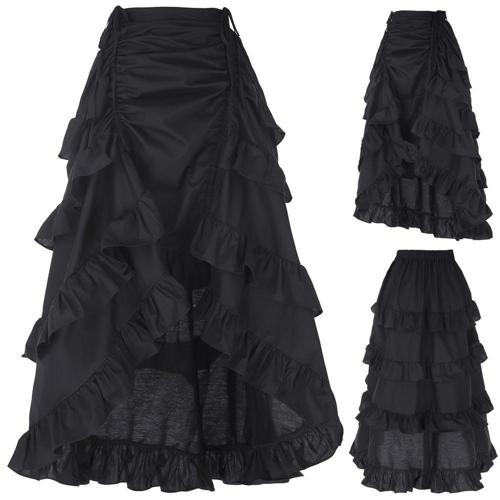 3 цвета готический корсет юбка викторианский стимпанк длинная рюшами винтажный костюм юбка S19715