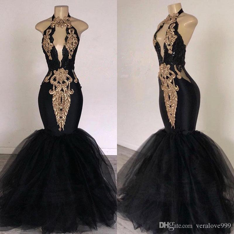 2019 Black Prom Dresses with Gold Lace Decoration Mermaid Halter Neck Sweep Train South Africa Style Formal Evening Occasion Party Dresses