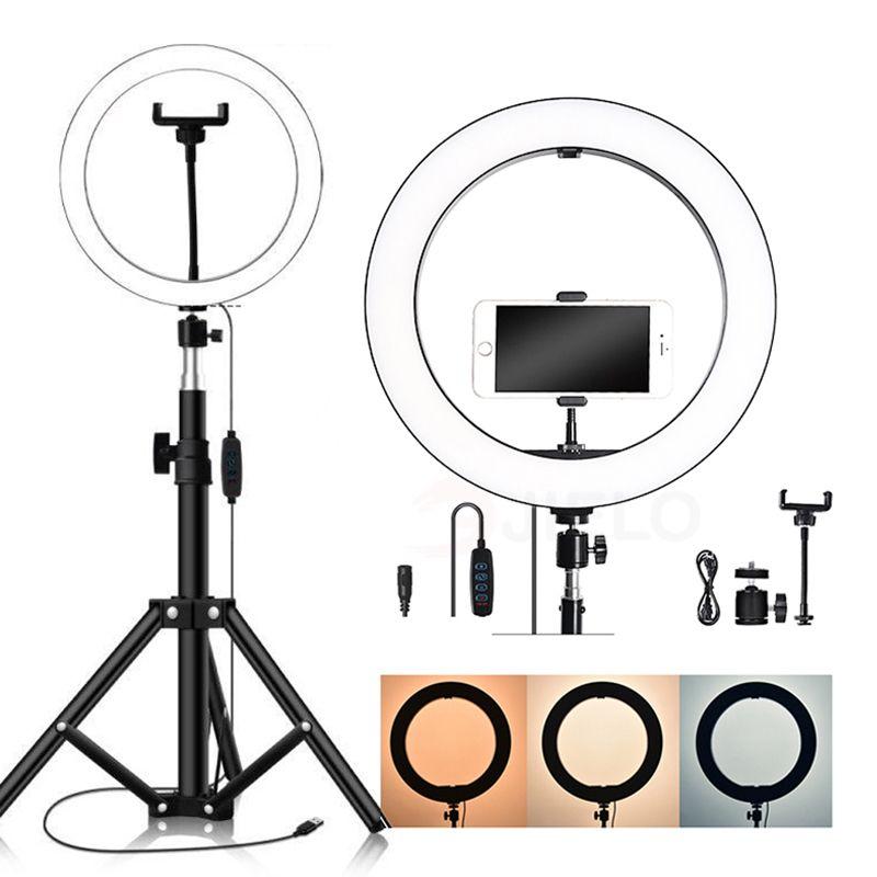 Selfie مصباح ضوء للهاتف الذكي لايف البث ترايبود، الصمام الخرز كاميرا الهاتف حامل الهاتف 160 سنتيمتر 210cm الجمال ماكياج الدائري ضوء 8-10inch ل youtub