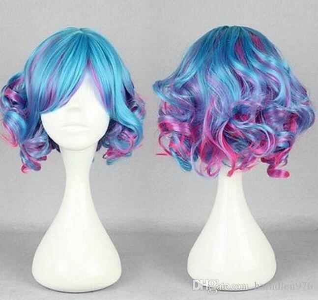 Бесплатная shippingNew Горячая Мода короткие вьющиеся Волнистые Волосы Полные Парики Аниме Косплей Парик Партии