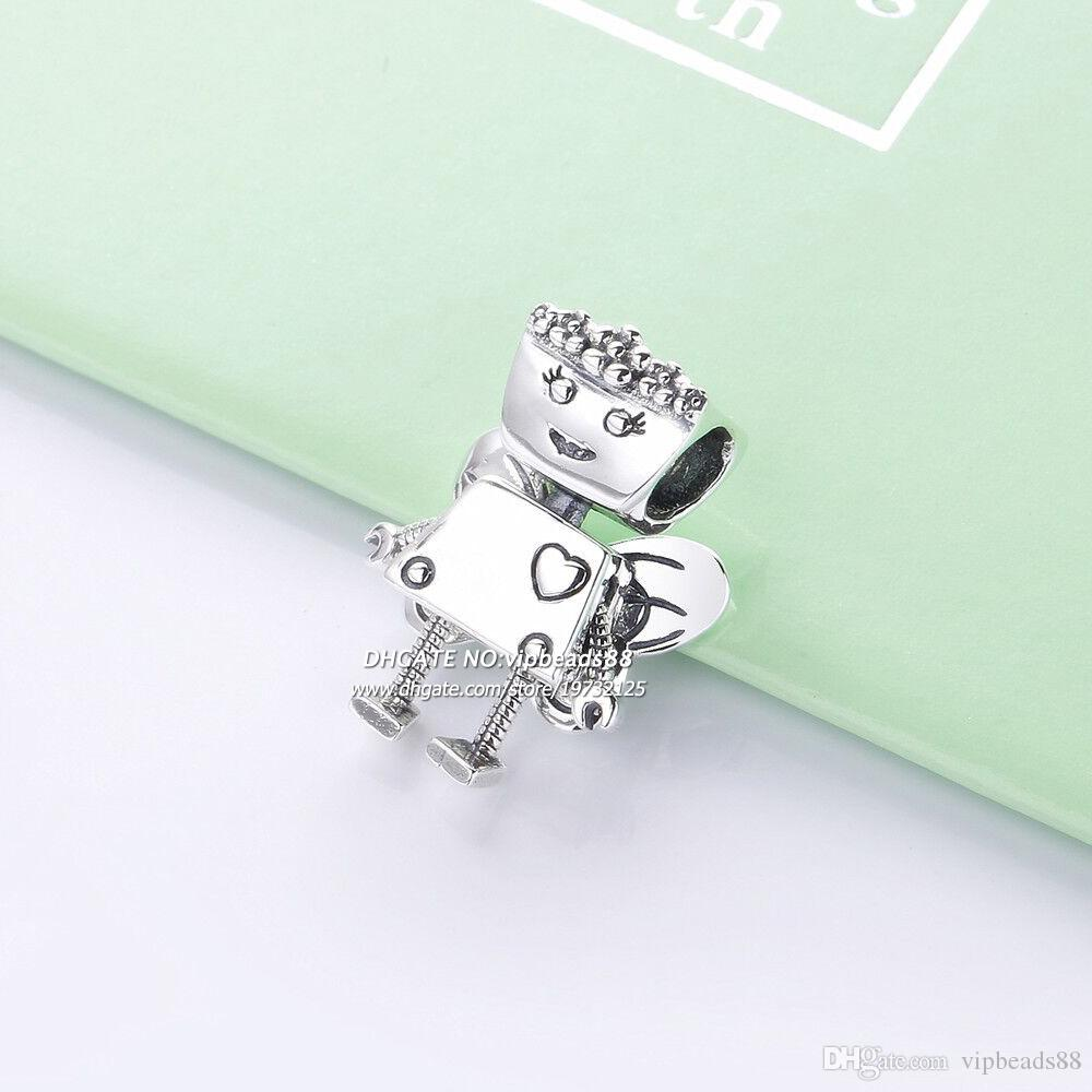 2019 Spring NEW 925 Sterling Silver Robot Charm beads Fits All European pandora DIY Bracelets Necklaces
