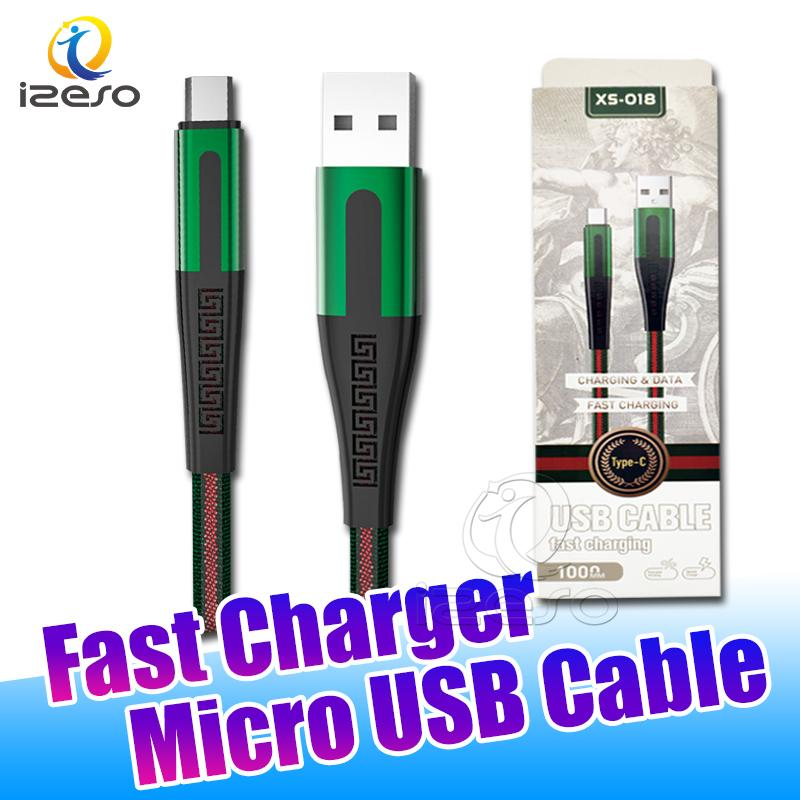 Colorful Flat Braided USB Data Cable Fast Charging Wire 2A Type C USB Quick Charger Line for Android Smartphone with Retail Packaging izeso