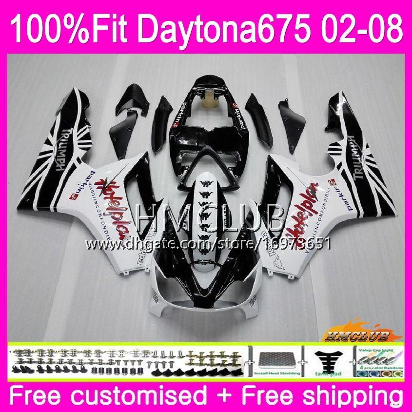 Injection Body For Triumph Daytona 675 02 03 04 05 06 07 08 White Black 43HM.14 Daytona675 2002 2003 2004 2005 2006 2007 2008 OEM Fairing