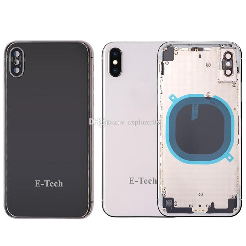 25Pcs For iPhone X 8G 8 Plus Back Battery Door Glass Full Housing Middle Frame Panel Cover with Logo Side Buttons SIM Tray Replacement Parts