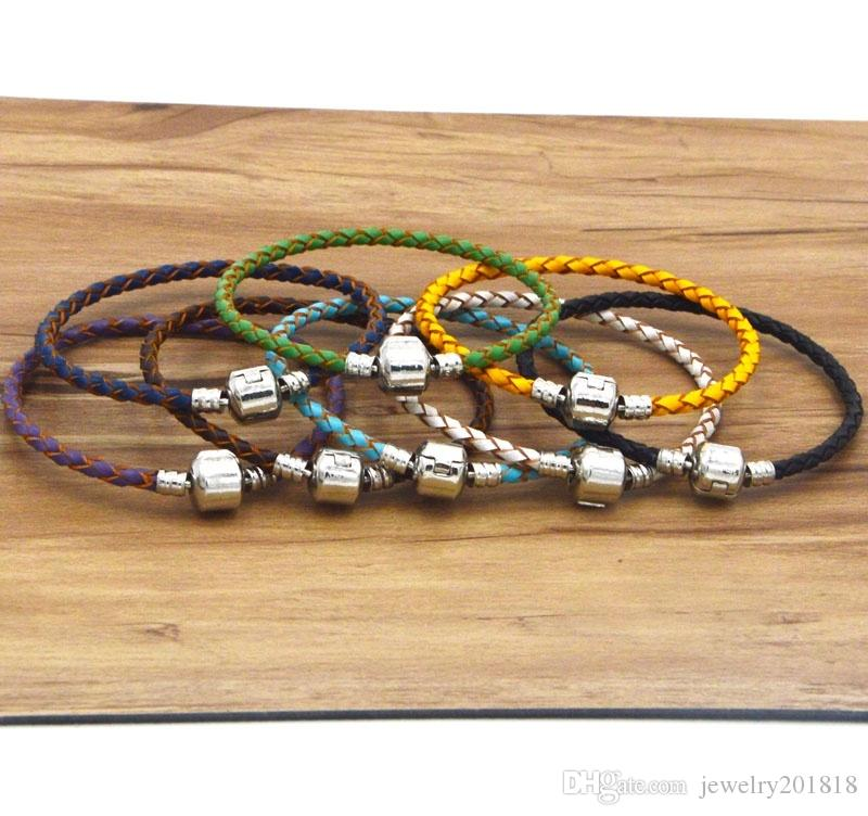 925 Silver 3mm Braided Genuine Leather Cord Bracelet Popular round Clasp Multi-Color