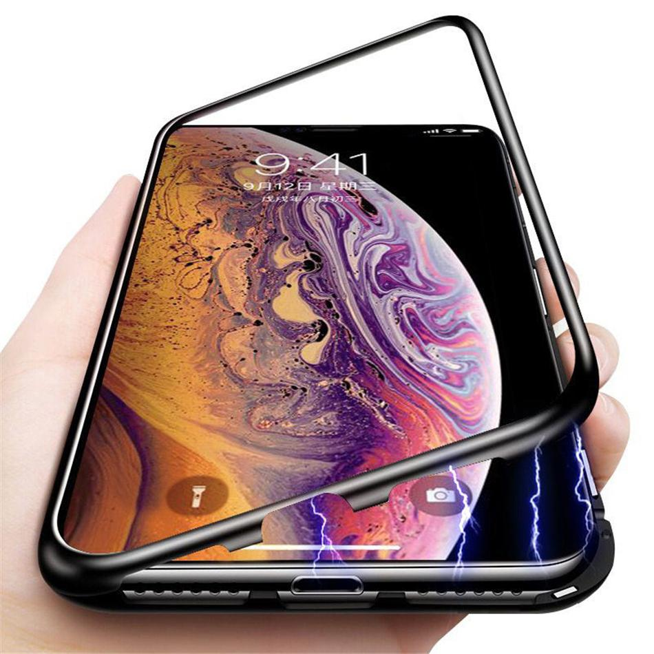 Magnetic Adsorption Metal Flip Tempered Glass Case Cover For iPhone XS Max XR X 8 7 6 Plus Samsung Galaxy S10 S10+ S10e