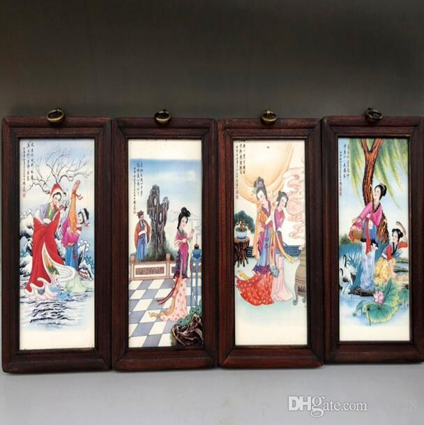 Porcelain plate painting four-screen antique ceramic small hanging screen painting Jingdezhen living room decoration painting new Chinese st