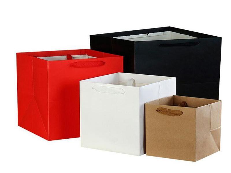 100 pçs / lote 4 cores quadrado frutas flores sacos de papel de embalagem com punho quadrado inferior kraft papel saco de presente saco 4 tamanho