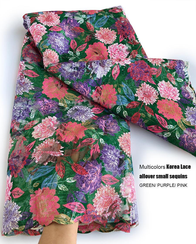 5 Yards multi französisch Spitze Korea-Gewebe mit Allover kleinen Pailletten 2020 Floral African Tüll Mesh Spitze Stoff Hochzeit Tuch
