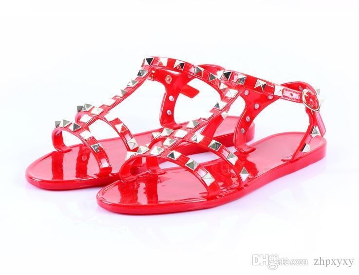 Sandalen Damenschuhe Sommermode drei Farben Damen Sandalen Süße offene Nieten Römische flache Sandalen Rutschen da09