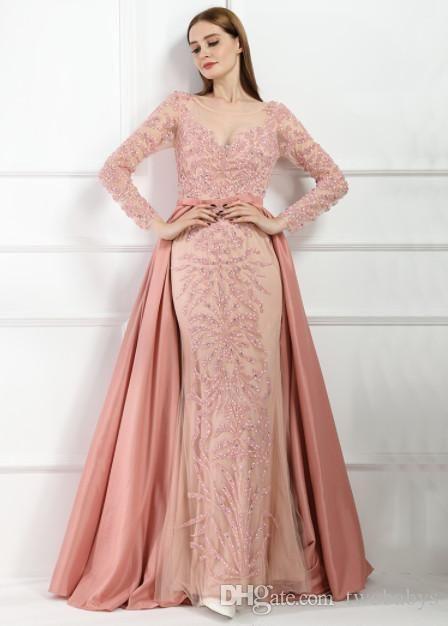 Abiti da sera di lusso sirena rosa Emeradald verde maniche lunghe perline abito da sera di cristallo 2019