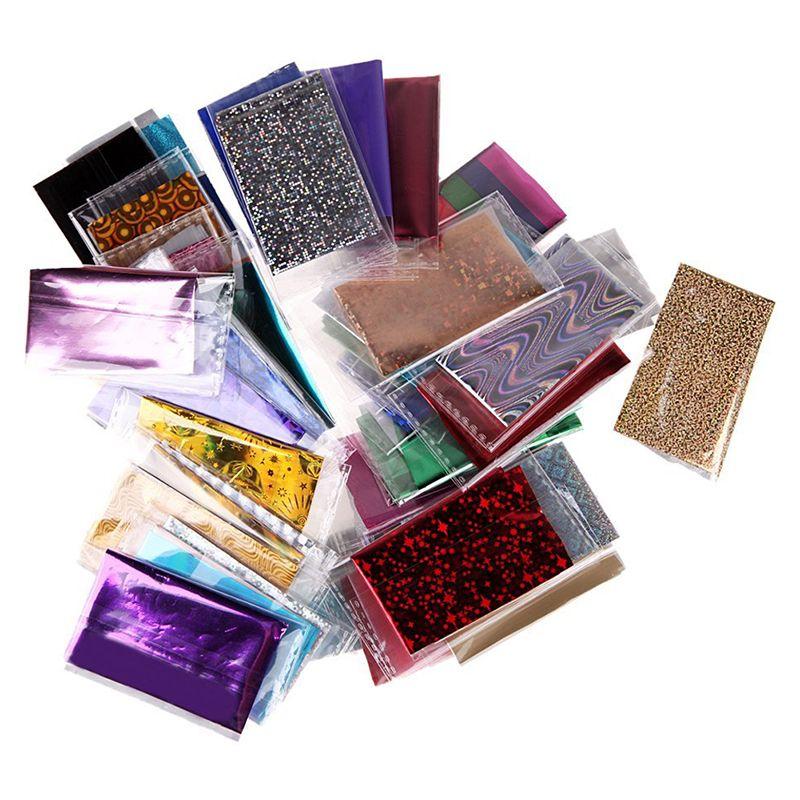 50 Случайных Много Цветов Фольги Галактики Ногтей Стикер Бумаги Блестящие Надписи