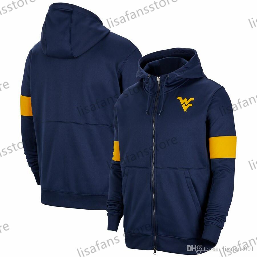 West Virginia Mountaineers Sweatshirts 2018-2019 On-Court Basketball Player Showtime Sideline Performance Full-Zip Hoodies Mens College Jack