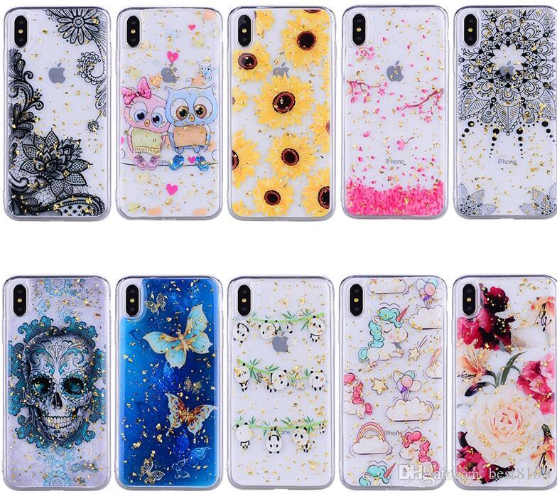 Bling Foil Sequin Soft TPU Case For Huawei P30 Pro P20 Lite Mate 20 P Smart Nove 4 Y6 2018 Y7 2019 Flower Lace Unicorn Confetti Flake Cover