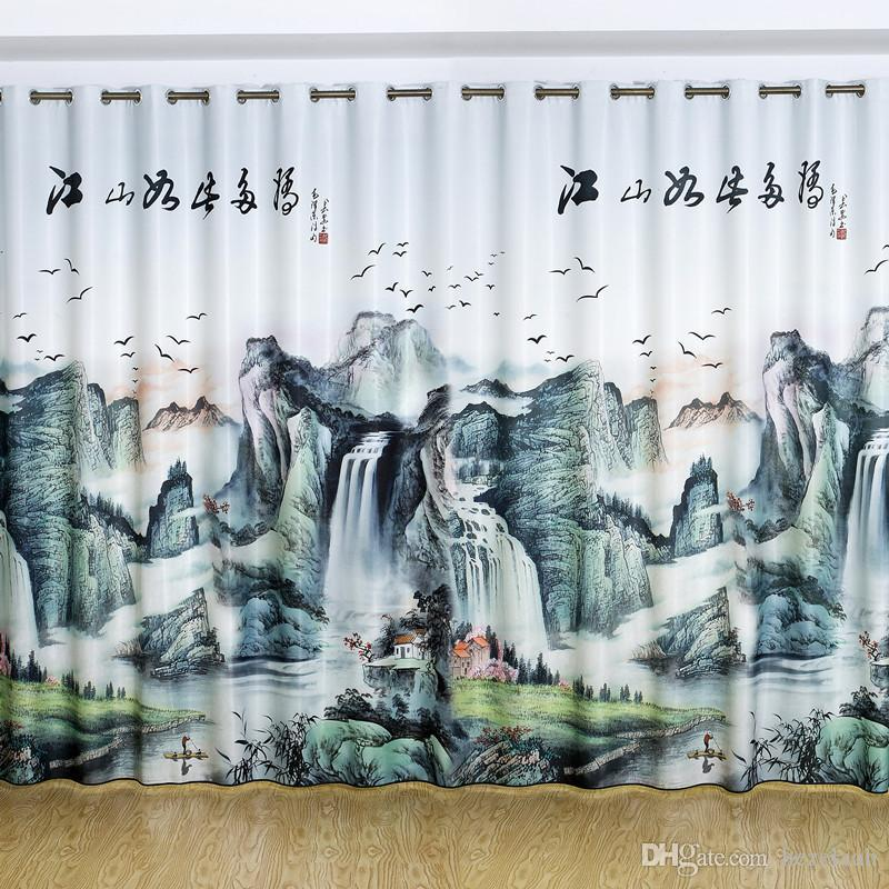 3D digital printing curtain fabric bedroom living room3D landscape painting digital printing bedroom study living room curtain finished