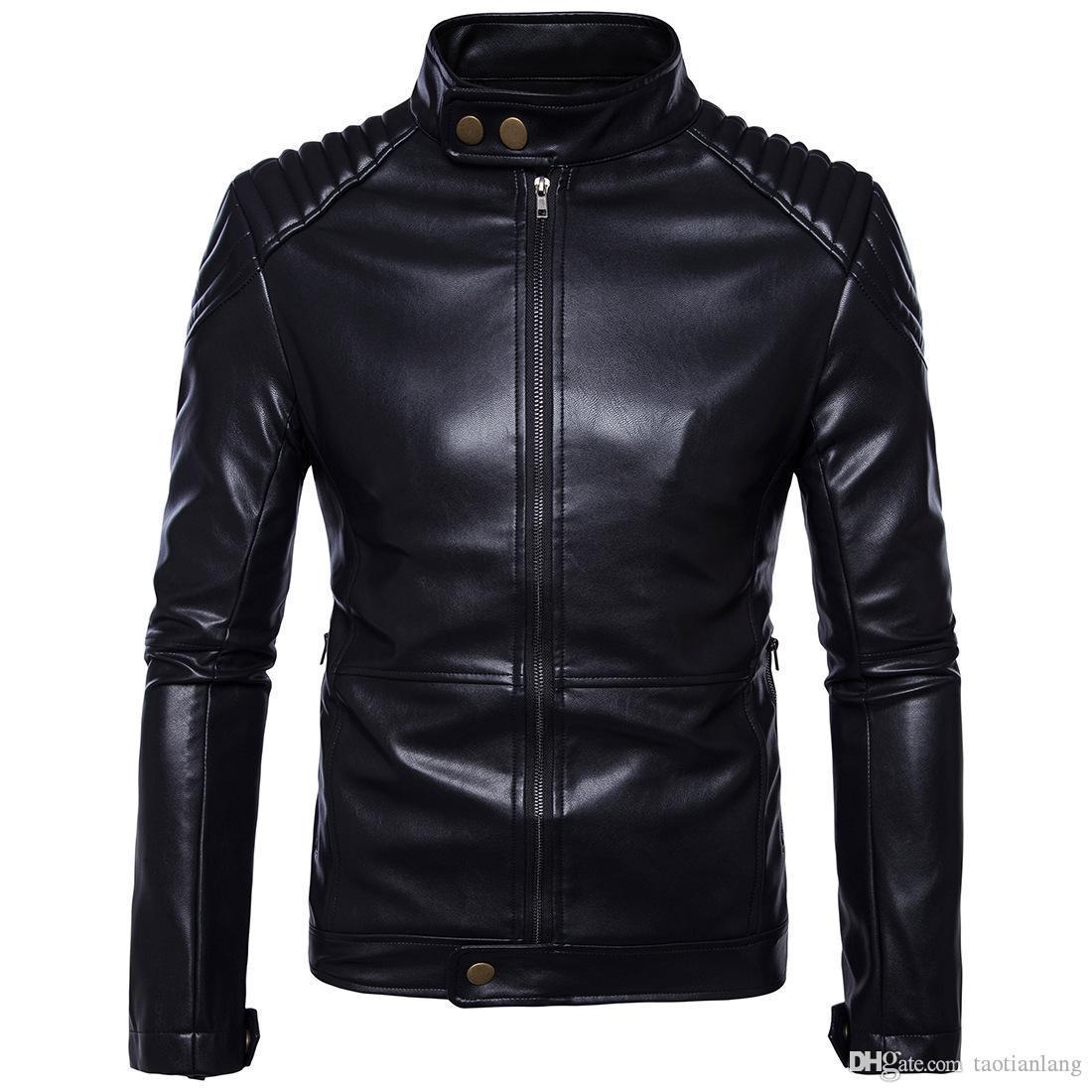 Поддельный Кожаные куртки Плюс Размер Стенд Воротник Дикий мужчина осень мытый куртка для мужчин Повседневная Прохладный Мужчины мотоциклов куртки шинелей J170701