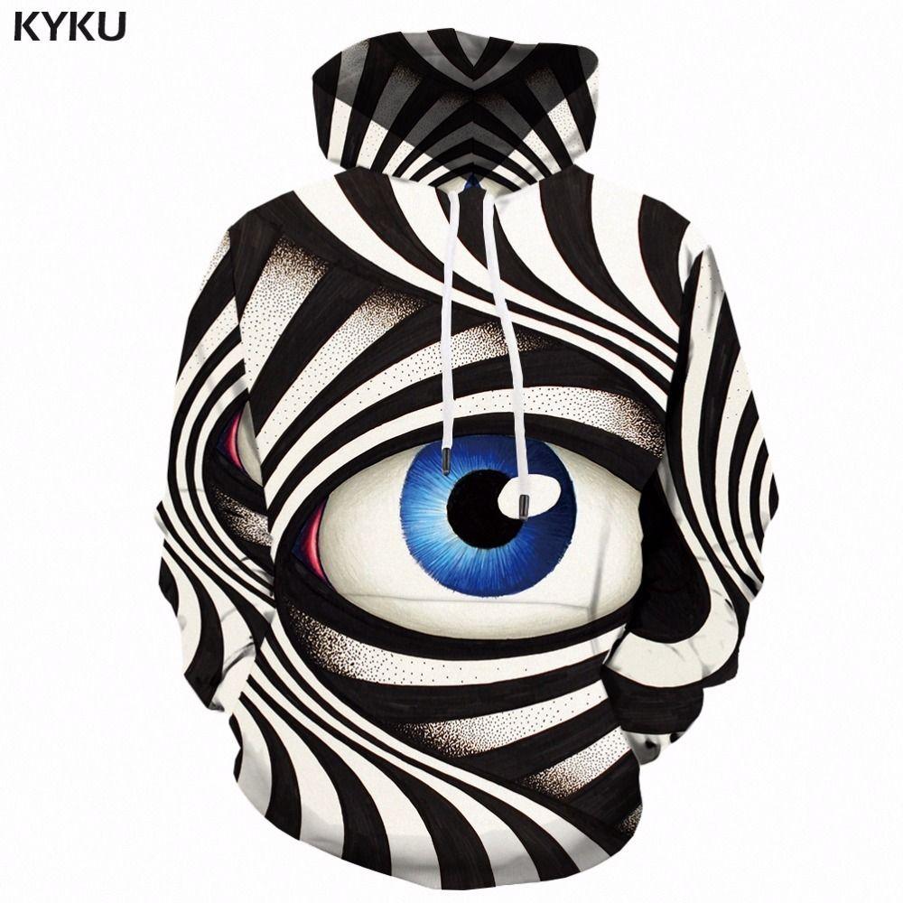 Kyku Eye Hoodie Men Black And White 3d Hoodies Psychedelic Printed Sweatshirt Hooded Gothic Anime Mens Clothing Casual Winter T190618